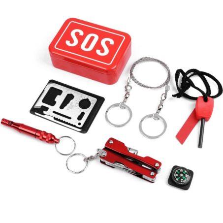 SOS 6 részes multifunkciós túlélő készlet piros fém dobozban