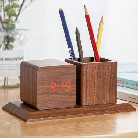 Sötétbarna fa hatású asztali óra, hőmérő, ébresztő és tolltartó