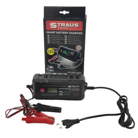 Straus digitális intelligens autós-motoros akkumulátor töltő, 8A,  6V és 12V