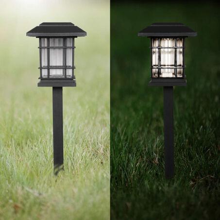 Szögletes napelemes leszúrható szolár lámpa csomag, fekete, 4db