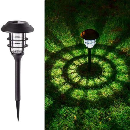 Kerek napelemes leszúrható szolár lámpa csomag, fekete, 6db