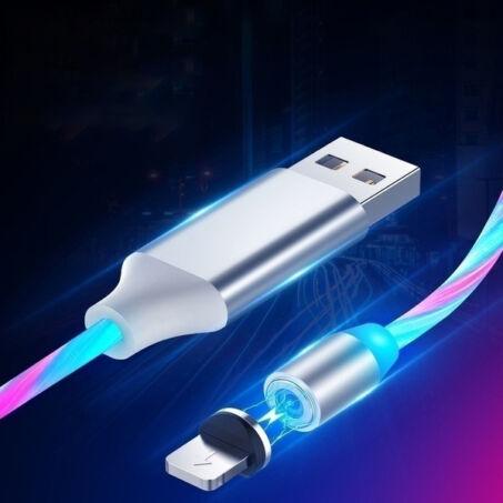 X-Cable mágneses világítós töltőkábel microUSB, Lightning és Type-C csatlakozókkal