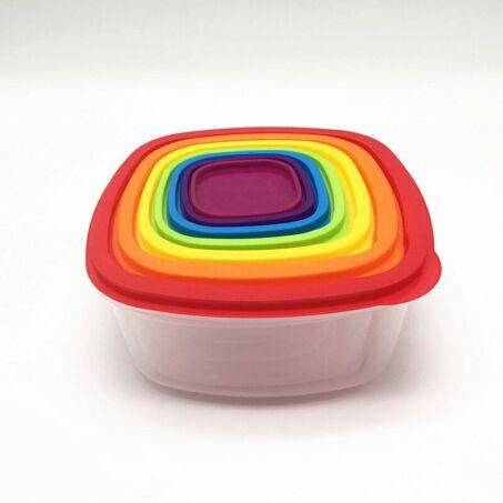 Falcon Rainbow színes, 7+7 részes ételtároló doboz készlet