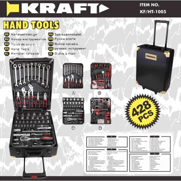 Kraft 428 részes racsnis szerszámkészlet fém kofferben KF/HT-1005