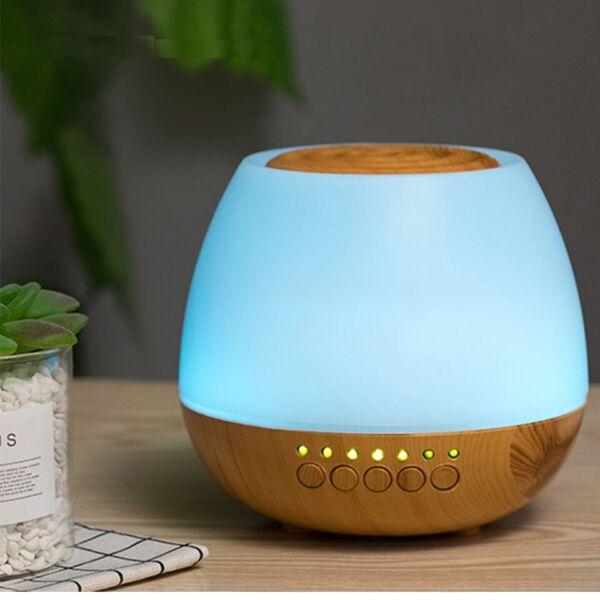 Fa hatású aromaterápiás párologtató, ultrahangos párásító, illatosító - világosbarna gomba