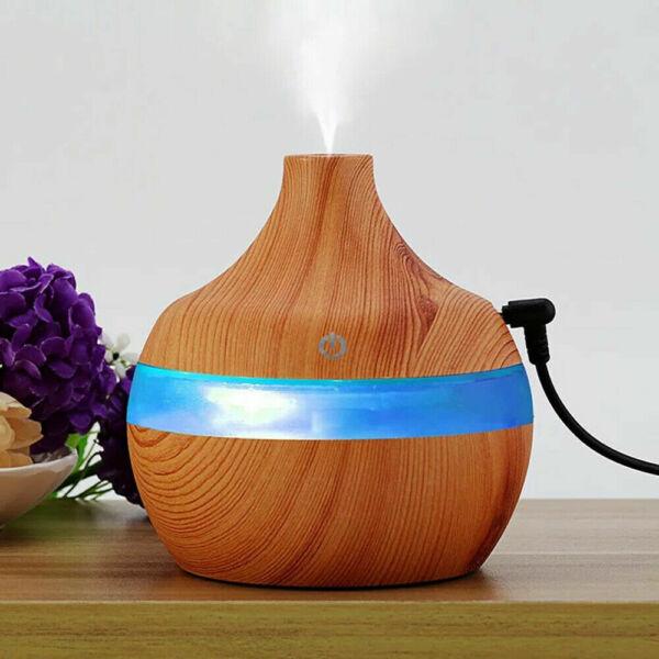 Fa hatású mini aromaterápiás párologtató, ultrahangos párásító, illatosító - világosbarna