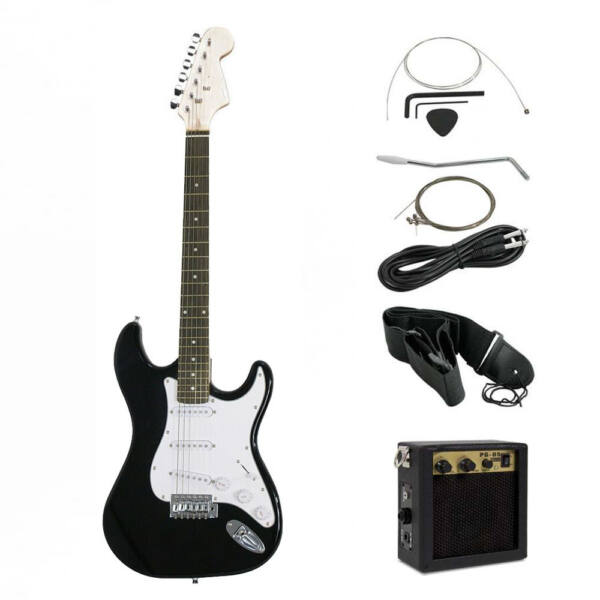 Elektromos gitár szett kezdőknek, ajándék erősítővel, fekete