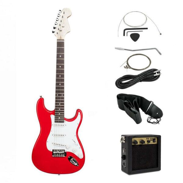 Elektromos gitár szett kezdőknek, ajándék erősítővel, piros