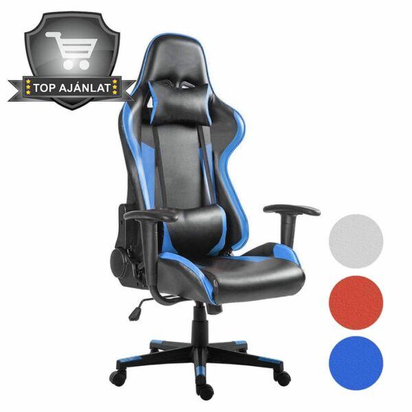 Gamer Pro gurulós szék 3 választható színben - kék-fekete
