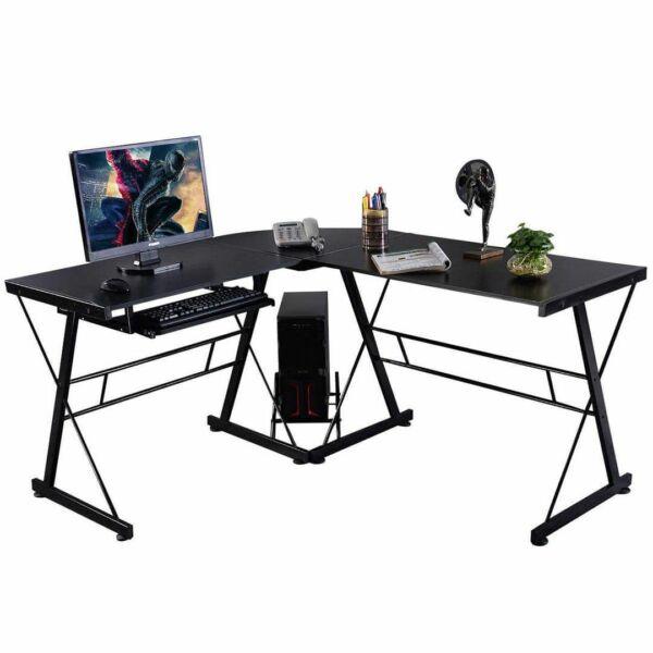 L alakú íróasztal, dolgozóasztal otthonra vagy irodába - fekete