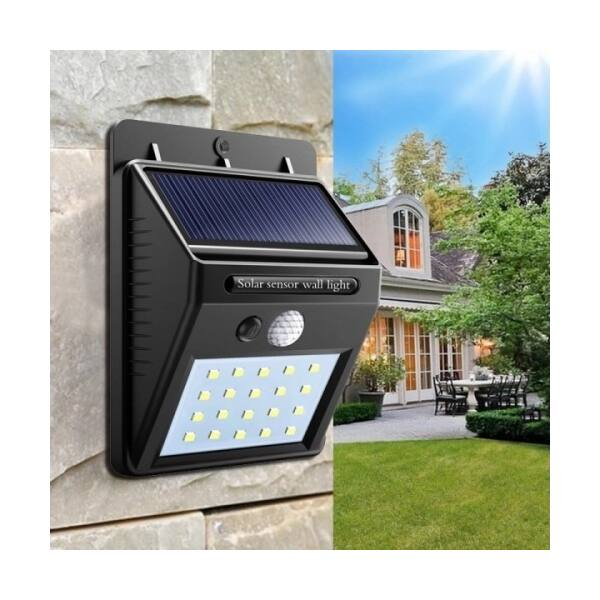 Napelemes mozgásérzékelős LED lámpa, falra szerelhető