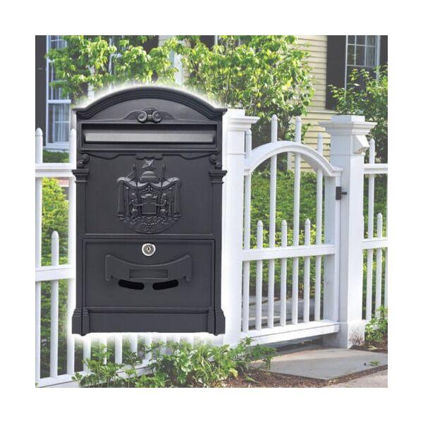 Möller fekete zárható fém postaláda, levélszekrény, MR70607