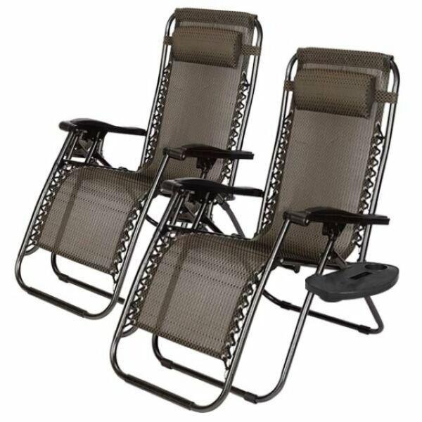 2 db Zéró gravitációs kerti szék ajándék pohártartóval