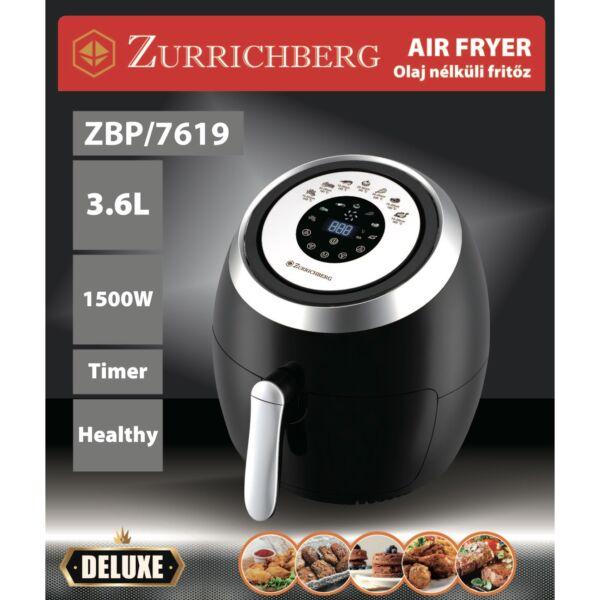 Zürrichberg olaj nélküli forró levegős fritőz digitális kijelzővel 1500W, 3,6 l kapacitással